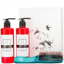 Majestic HAIR GREEN Set - Подарочный набор для волос «ИДЕАЛЬНЫЙ УХОД» (Кондиционе + шампунь + расчёска ЗЕЛЁНАЯ) 300 + 300мл + Расчёска