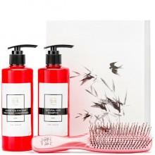 Majestic HAIR PINK Set - Подарочный набор для волос «ИДЕАЛЬНЫЙ УХОД» (Кондиционе + шампунь + расчёска РОЗОВАЯ) 300 + 300мл + Расчёска