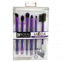 Royal&Langnickel MODA BEAUTIFUL EYES PURPLE SET - Фиолетовый набор кистей для макияжа глаз в чехле 6шт