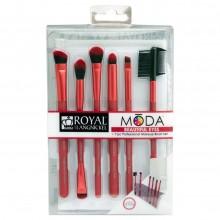 Royal&Langnickel MODA BEAUTIFUL EYES RED SET - Красный набор кистей для макияжа глаз в чехле 6шт