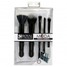Royal&Langnickel MODA PERFECT MINERAL SET BLACK - Черный набор кистей для макияжа в чехле 5шт
