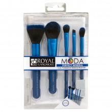 Royal&Langnickel MODA PERFECT MINERAL SET BLUE - Голубой набор кистей для макияжа в чехле 5шт