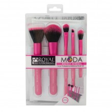 Royal&Langnickel MODA PERFECT MINERAL SET PINK - Розовый набор кистей для макияжа в чехле 5шт