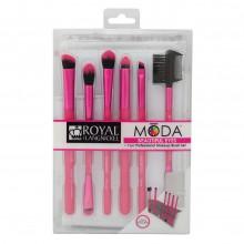 Royal&Langnickel MODA BEAUTIFUL EYES PINK SET - Розовый набор кистей для макияжа глаз в чехле 6шт