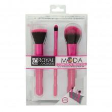 Royal&Langnickel MODA COMPLEXION PINK PERFECTION SET - Розовый набор кистей для макияжа лица в чехле 3шт
