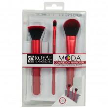 Royal&Langnickel MODA COMPLEXION RED PERFECTION SET - Красный набор кистей для макияжа лица в чехле 3шт