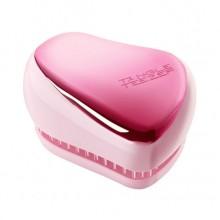 TANGLE TEEZER Compact Styler BABY DOLL PINK CHROME - Щетка для волос компактная РОЗОВЫЙ МЕТАЛЛИК/РОЗОВЫЙ 90 х 68 х 50мм