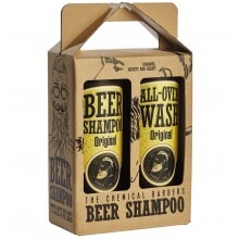 THE CHEMICAL BARBERS BEER SHAMPOO GIFT SET ORIGINAL - Подарочный Набор: Пивной шампунь против перхоти и Очищающее средство для лица, тела и волос 440 + 440мл